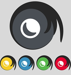 Moon icon sign Symbol on five colored buttons vector