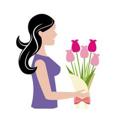 mother woman flower bouquet celebration vector image