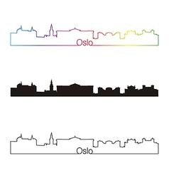 oslo skyline linear style with rainbow vector image