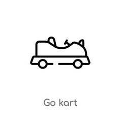 Outline go kart icon isolated black simple line vector