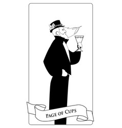 outlines paje or knave of cups with top hat roses vector image