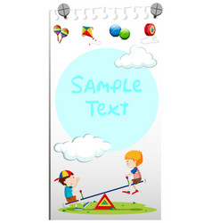 Paper template with kids playing see-saw vector