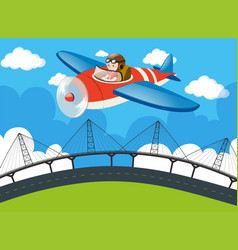 Pilot flying plane over the bridge vector