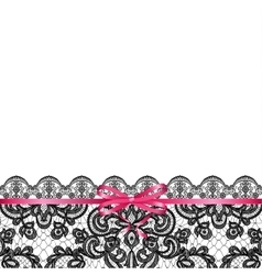 pink bow on lace background vector image