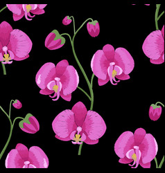 Pink orchid branch embroidery seamless pattern vector