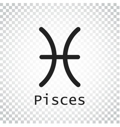 pisces zodiac sign flat astrology on isolated vector image