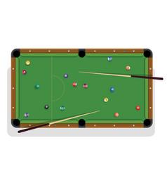 pool table billiard stick and billiard balls for vector image