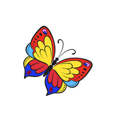 pop art style butterfly sticker vector image
