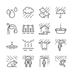 Rain line icon set vector