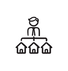 real estate agent with three houses sketch icon vector image
