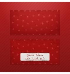 Realistic Christmas Envelope Template for Santa vector image