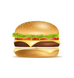 realistic detailed 3d classic american hamburger vector image
