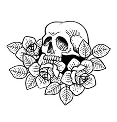 Rose tattoo with skull roses isolated vector