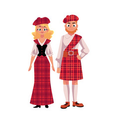 scottish couple in traditional national costumes vector image