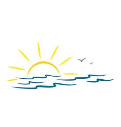 Sea with sun and birds vector
