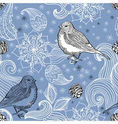 Seamless doodle background with bird and flower vector image