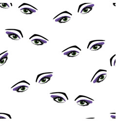 seamless pattern eyes and eyelashes vector image