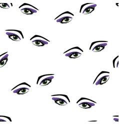 Seamless pattern eyes and eyelashes vector