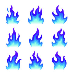 set blue fire icons flat fire flame vector image