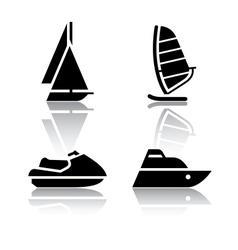 Set of transport icons - boat and sailfish symbols vector