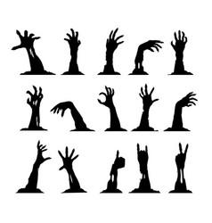 Set zombie hands vector