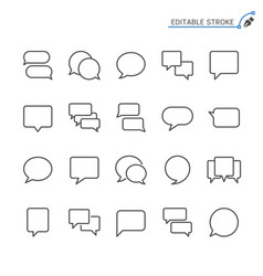 Speech bubble line icons editable stroke vector