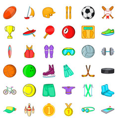 Sport icons set cartoon style vector