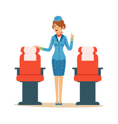 Stewardess character in blue uniform serving vector