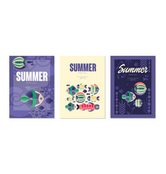 summer card templates set summer holidays banner vector image