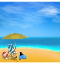 Summer sea view background with umbrella ball vector image
