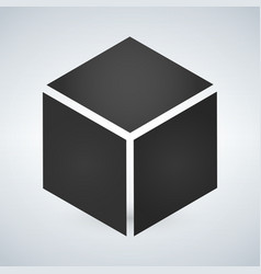 Three dimensional or 3d cube hexahedron flat icon vector