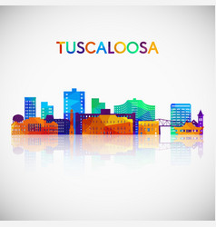tuscaloosa skyline silhouette in colorful vector image