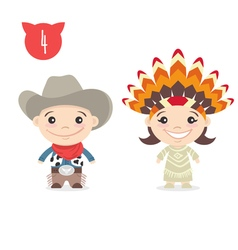 Two happy cute kids characters Boy in cowboy vector