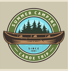 vintage canoe trip round colorful logo vector image