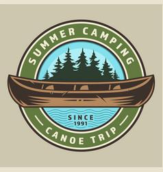 Vintage canoe trip round colorful logo vector