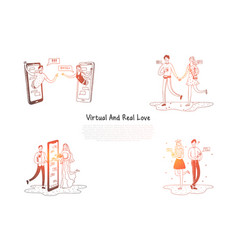 virtual and real love - couples having vector image