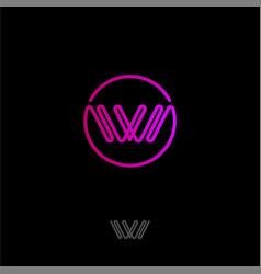 w logo monogram pink line logo circle vector image