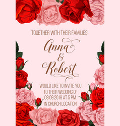 Wedding invitation card with rose flower border vector