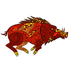 wild boar animal in doodle style zentangle vector image vector image