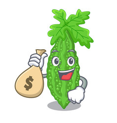 With money bag bitter melon isolated on a mascot vector