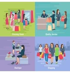Woman Shopping Flat Concept vector image