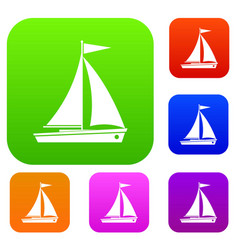 Yacht set collection vector