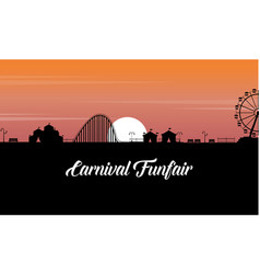 carnival funfair scenery at sunset silhouette vector image vector image