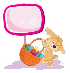 easter bunny holding a basket for hunting vector image