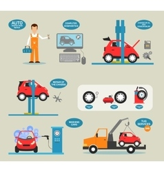 Flat design concepts for car service vector image vector image