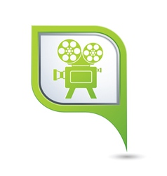 Green map pointer with cinema icon vector image