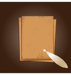 old paper with feather vector image