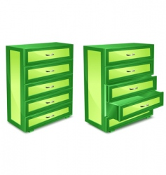 wooden commode in green vector image vector image