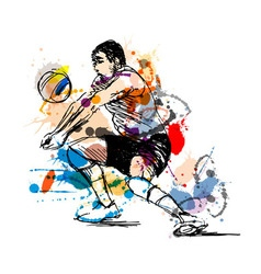 Colored hand sketch volleyball player vector image vector image