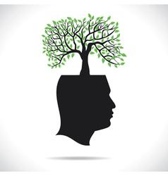 Green tree on head human head vector